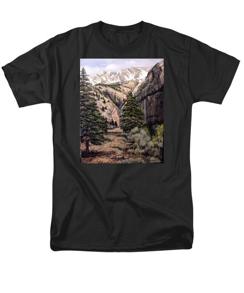 Men's T-Shirt  (Regular Fit) featuring the painting Sleeping Faces In The Rock by Donna Tucker