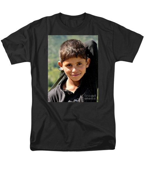 Men's T-Shirt  (Regular Fit) featuring the photograph Smiling Boy In The Swat Valley - Pakistan by Imran Ahmed