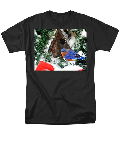 Snow Bluebird Christmas Card Men's T-Shirt  (Regular Fit) by Nava Thompson