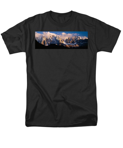 Snowcapped Mountain Peaks, Dolomites Men's T-Shirt  (Regular Fit) by Panoramic Images