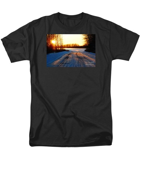 Snowy Anchorage Sunset Men's T-Shirt  (Regular Fit) by Cynthia Lagoudakis
