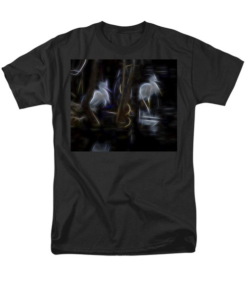 Men's T-Shirt  (Regular Fit) featuring the digital art Snowy Egrets 1 by William Horden