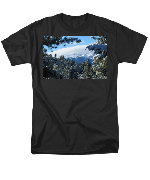 Snowy Pikes Peak Men's T-Shirt  (Regular Fit) by Marilyn Burton