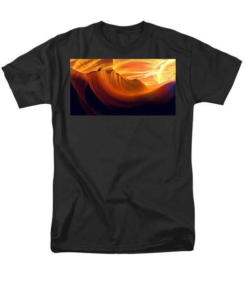 Men's T-Shirt  (Regular Fit) featuring the photograph Somewhere In America Series - Golden Yellow Light In Antelope Canyon by Lilia D