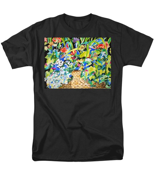 Men's T-Shirt  (Regular Fit) featuring the painting Spring Flowers In A Brown Basket by Esther Newman-Cohen