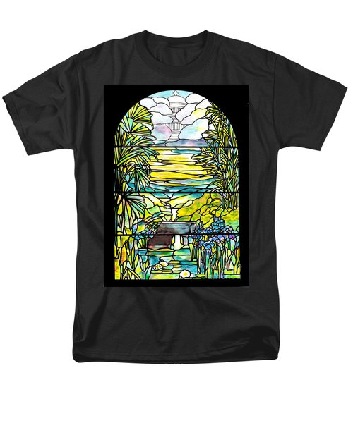 Stained Glass Tiffany Holy City Memorial Window Men's T-Shirt  (Regular Fit) by Donna Walsh