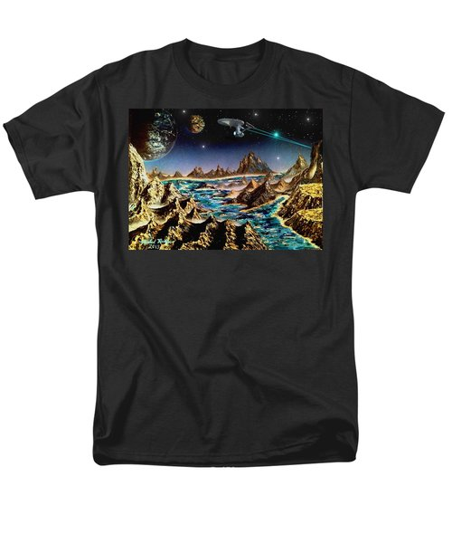 Men's T-Shirt  (Regular Fit) featuring the painting Star Trek - Orbiting Planet by Michael Rucker