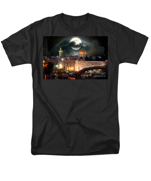 Starry Night At The Dome Of The Rock Men's T-Shirt  (Regular Fit) by Doc Braham