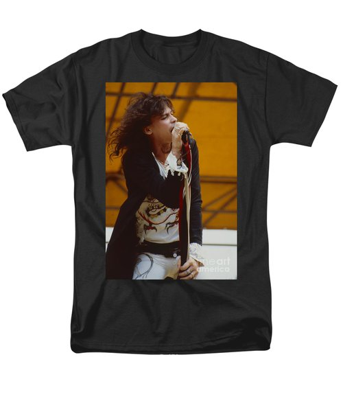 Steven Tyler Of Aerosmith At Monsters Of Rock In Oakland Ca Men's T-Shirt  (Regular Fit) by Daniel Larsen