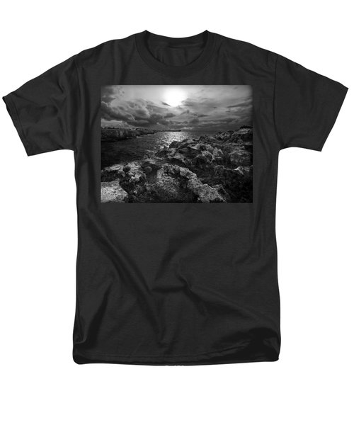 Blank And White Stormy Mediterranean Sunrise In Contrast With Black Rocks And Cliffs In Menorca  Men's T-Shirt  (Regular Fit) by Pedro Cardona