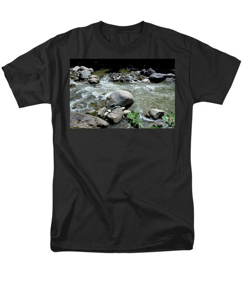 Men's T-Shirt  (Regular Fit) featuring the photograph Stream Water Foams And Rushes Past Boulders by Imran Ahmed