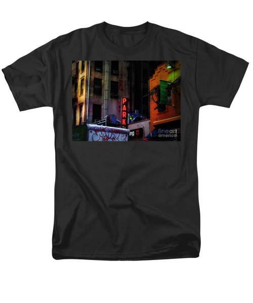 Men's T-Shirt  (Regular Fit) featuring the photograph Graffiti And Grand Old Buildings by Miriam Danar