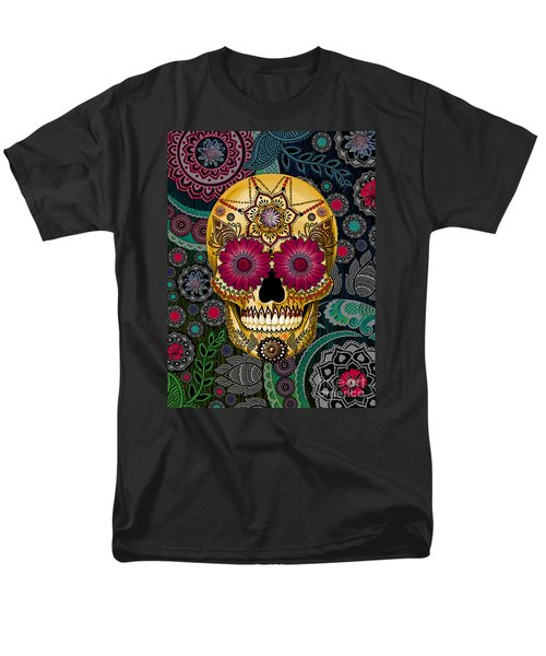 Sugar Skull Paisley Garden - Copyrighted Men's T-Shirt  (Regular Fit) by Christopher Beikmann