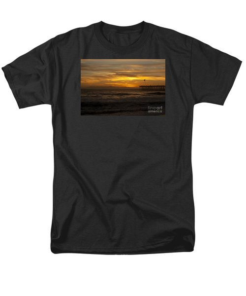 Men's T-Shirt  (Regular Fit) featuring the photograph Sun Setting Behind Santa Cruz With Ventura Pier 01-10-2010 by Ian Donley
