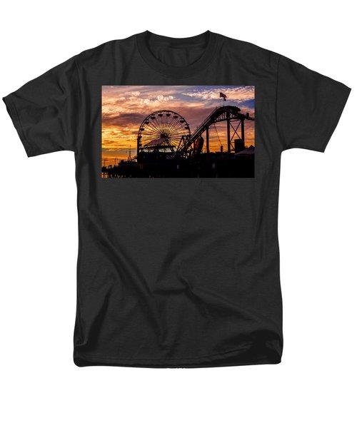 Sunset Amusement Park Farris Wheel On The Pier Fine Art Photography Print Men's T-Shirt  (Regular Fit) by Jerry Cowart