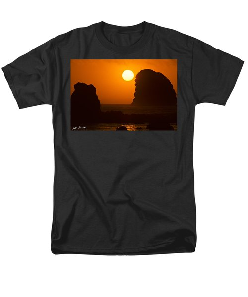 Men's T-Shirt  (Regular Fit) featuring the photograph Sunset Over The Pacific Ocean With Rock Stacks by Jeff Goulden