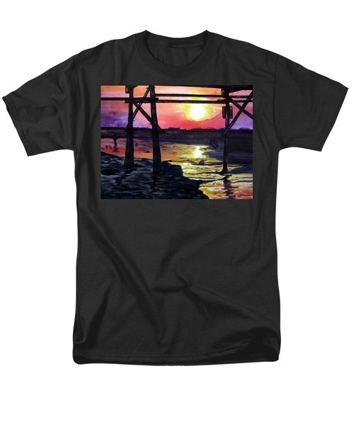 Men's T-Shirt  (Regular Fit) featuring the painting Sunset Pier by Lil Taylor