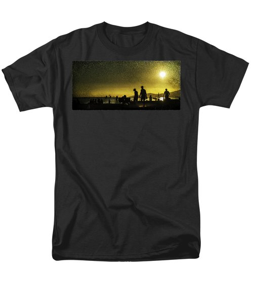 Men's T-Shirt  (Regular Fit) featuring the photograph Sunset Silhouette Of People At The Beach by Peter v Quenter
