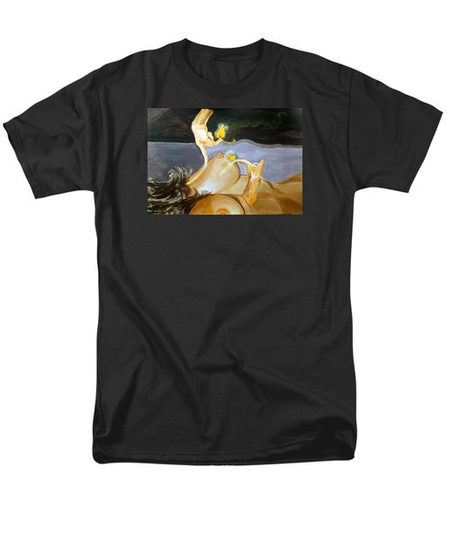 Men's T-Shirt  (Regular Fit) featuring the painting Takeoff The Touch Despegue Del Tacto by Lazaro Hurtado