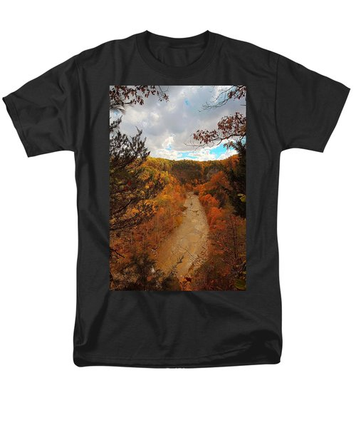 Men's T-Shirt  (Regular Fit) featuring the painting Taughannock River Canyon In Colorful Fall Ithaca New York IIi by Paul Ge