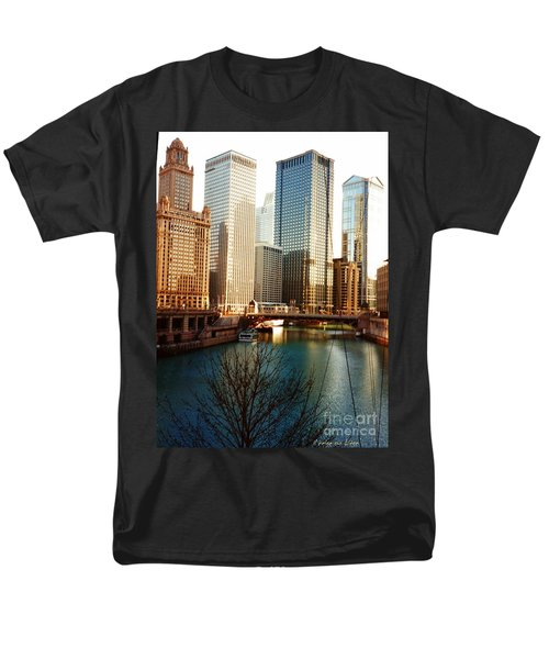 The Chicago River From The Michigan Avenue Bridge Men's T-Shirt  (Regular Fit) by Mariana Costa Weldon