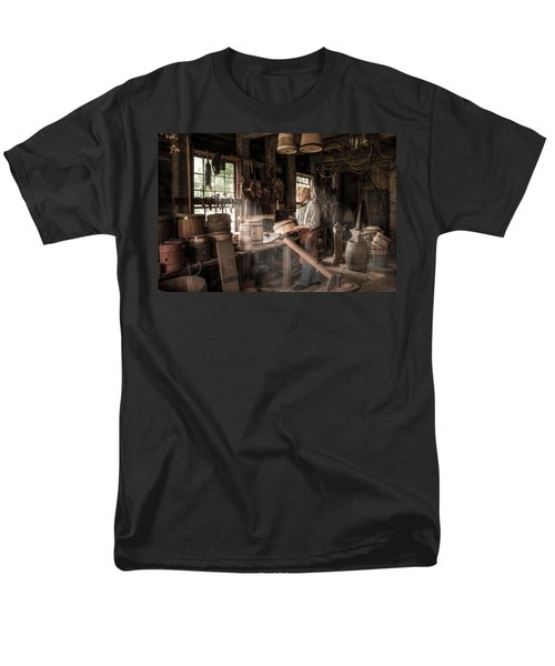 Men's T-Shirt  (Regular Fit) featuring the photograph The Cooper - 19th Century Artisan In His Workshop  by Gary Heller