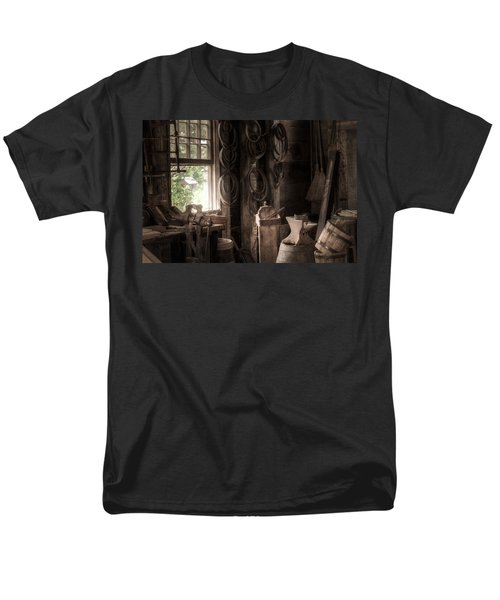 Men's T-Shirt  (Regular Fit) featuring the photograph The Coopers Window - A Glimpse Into The Artisans Workshop by Gary Heller