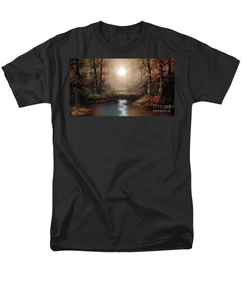 Men's T-Shirt  (Regular Fit) featuring the painting Sunrise Forest  by Michael Rucker