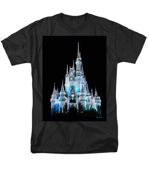 The Magic Kingdom Castle In Frosty Light Blue Walt Disney World Men's T-Shirt  (Regular Fit) by Thomas Woolworth