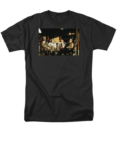 Men's T-Shirt  (Regular Fit) featuring the photograph The Over The Hill Gang  Johnny Cash Porch Old Tucson Arizona 1971 by David Lee Guss