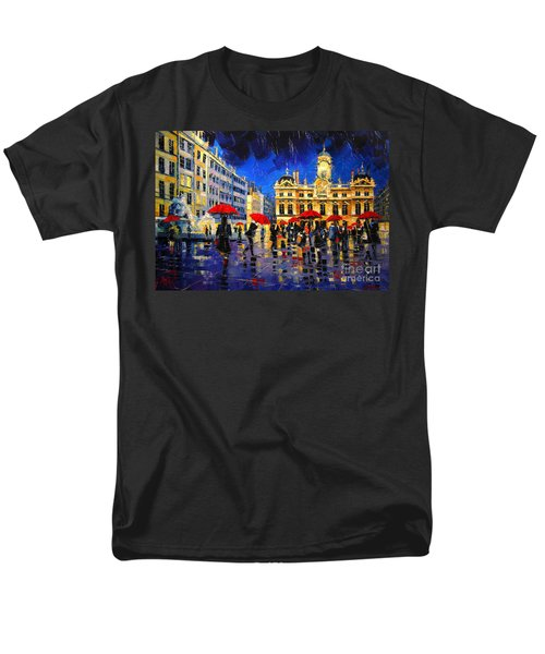 The Red Umbrellas Of Lyon Men's T-Shirt  (Regular Fit)