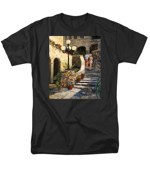 Men's T-Shirt  (Regular Fit) featuring the painting The Steps by Alan Lakin
