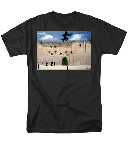 Men's T-Shirt  (Regular Fit) featuring the painting The  Western Wall And Fiddler On The Roof by Nora Shepley