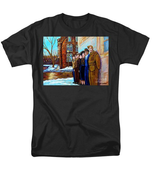 The War Years 1942 Montreal St Mathieu And De Maisonneuve Street Scene Canadian Art Carole Spandau Men's T-Shirt  (Regular Fit) by Carole Spandau