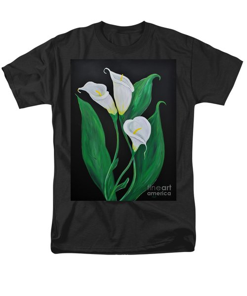 Men's T-Shirt  (Regular Fit) featuring the painting Three Calla Lilies On Black by Janice Rae Pariza