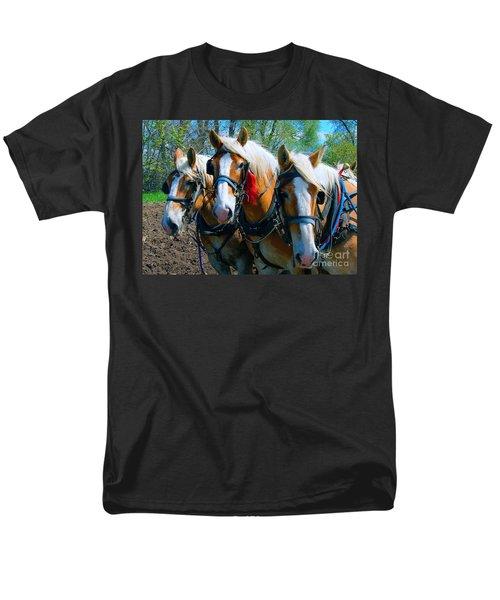 Men's T-Shirt  (Regular Fit) featuring the photograph Three Horses Break Time  by Tom Jelen