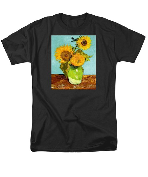 Three Sunflowers In A Vase Men's T-Shirt  (Regular Fit) by Vincent Van Gogh