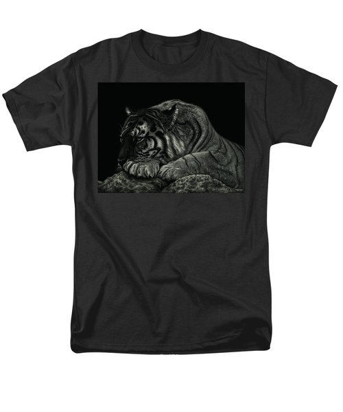 Men's T-Shirt  (Regular Fit) featuring the drawing Tiger Power At Peace by Sandra LaFaut