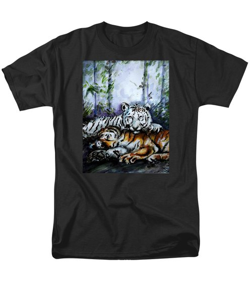 Men's T-Shirt  (Regular Fit) featuring the painting Tigers-mother And Child by Harsh Malik