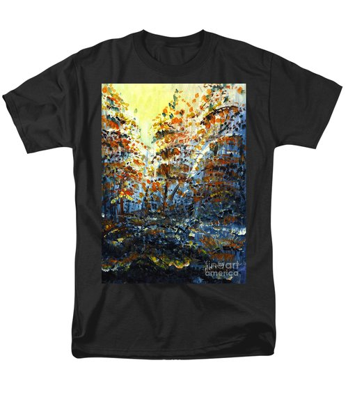 Men's T-Shirt  (Regular Fit) featuring the painting Tim's Autumn Trees by Holly Carmichael