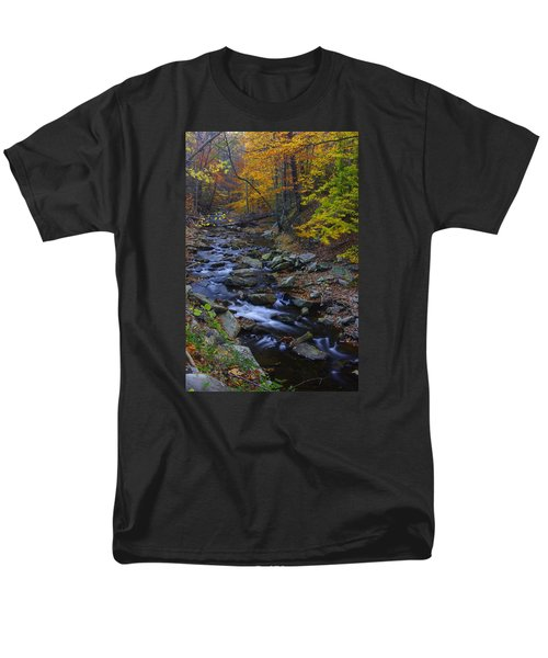 Tracking Color - Big Hunting Creek Catoctin Mountain Park Maryland Autumn Afternoon Men's T-Shirt  (Regular Fit) by Michael Mazaika