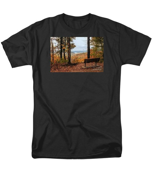 Men's T-Shirt  (Regular Fit) featuring the photograph Tranquility Bench In Great Smoky Mountains by Debbie Green
