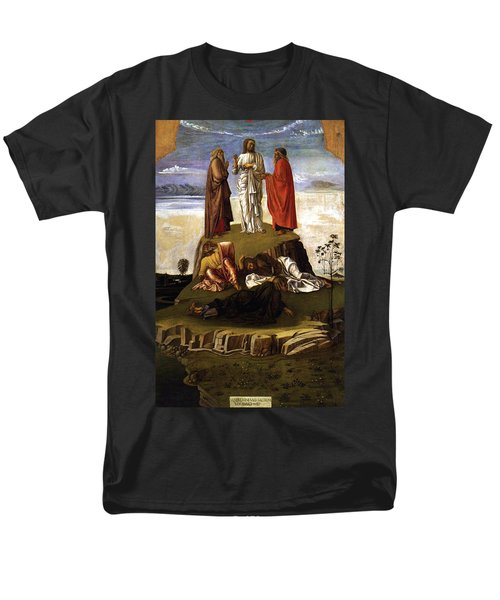 Men's T-Shirt  (Regular Fit) featuring the painting Transfiguration Of Christ On Mount Tabor 1455 Giovanni Bellini by Karon Melillo DeVega