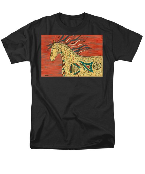 Men's T-Shirt  (Regular Fit) featuring the painting Tribal Spirit Horse by Susie WEBER