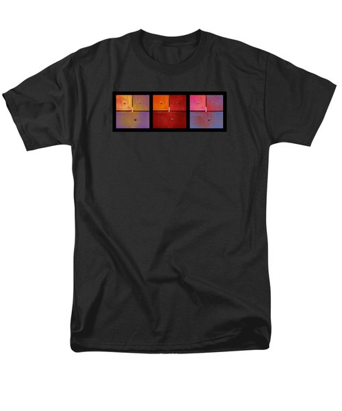 Men's T-Shirt  (Regular Fit) featuring the photograph Triptych Purple Red Magenta - Colorful Rust by Menega Sabidussi