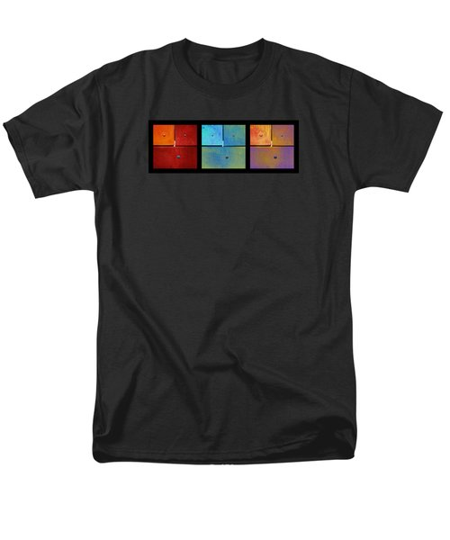 Men's T-Shirt  (Regular Fit) featuring the photograph Triptych Red Cyan Purple - Colorful Rust by Menega Sabidussi