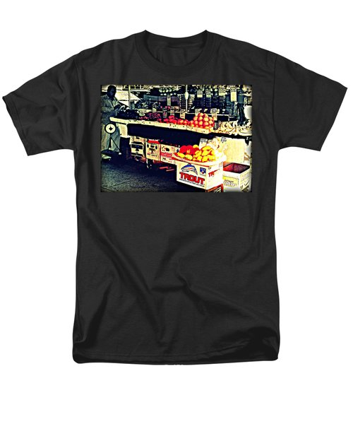 Men's T-Shirt  (Regular Fit) featuring the photograph Vintage Outdoor Fruit And Vegetable Stand - Markets Of New York City by Miriam Danar