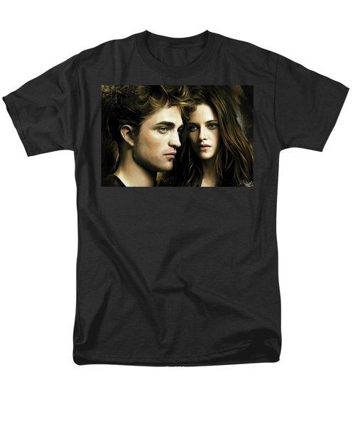 Men's T-Shirt  (Regular Fit) featuring the painting Twilight  Kristen Stewart And Robert Pattinson Artwork 4 by Sheraz A