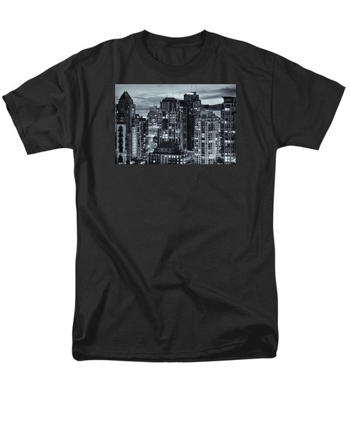 Men's T-Shirt  (Regular Fit) featuring the photograph Twilight On Cityscape Of Vancouver Overlooking English Bay - Greeting Card by Amyn Nasser