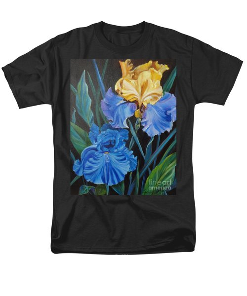 Men's T-Shirt  (Regular Fit) featuring the painting Two Fancy Iris by Jenny Lee